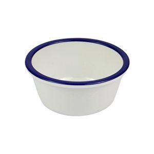 Емкость для соуса D 9см h 4см 52мл с синей кромкой эффект эмали, пластик белый
