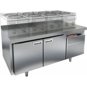 Стол холодильный низкий, GN1/1, L1.39м, борт H50мм, 2 двери глухие, ножки, -2/+10С, нерж.сталь, дин.охл., агрегат справа