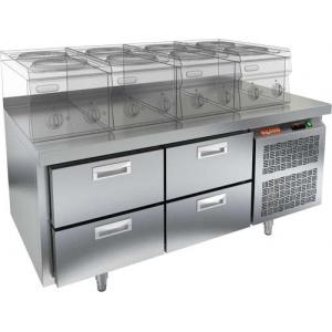 Стол холодильный низкий, GN1/1, L1.39м, борт H50мм, 4 ящика, ножки, -2/+10С, нерж.сталь, дин.охл., агрегат справа