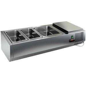 Витрина холодильная настольная, горизонтальная, для топпингов, L1.00м, 2GN1/3+1GN1/2, +2/+7С, стат.охл., открытая, для стола PZE3