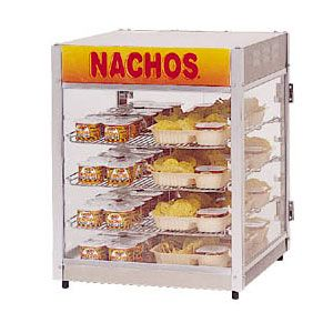 Подогреватель соусов и чипсов начос, настольный, 3 полки, 144 банки, 2 двери, вывеска Nachos (б/у (бывший в употреблении))