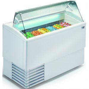 Витрина морозильная напольная, горизонтальная, для мороженого, L1.18м, 12 лотков, -14/-16С, стат.охл., белая, стекло фронтальное прямое, колеса