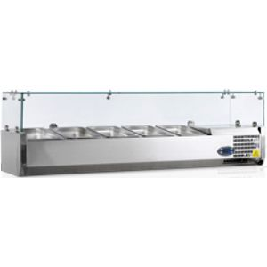 Витрина холодильная настольная, горизонтальная, для топпингов, L1.20м, 5GN1/4, +2/+10С, стат.охл., нерж.сталь, верхняя структура стекло, ножки, R600а