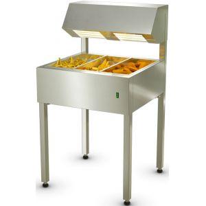 Станция фасовочная для картофеля фри, напольная, 654х641х1200мм, 3 секции, подогрев, подсветка, нерж.сталь