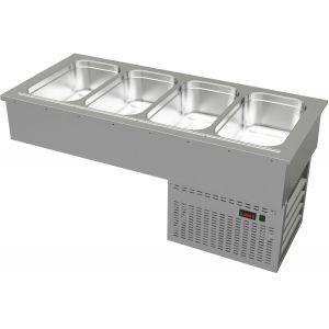 Ванна холодильная встраиваемая, L1.41м,  4GN1/1, 0/+8С, нерж.сталь