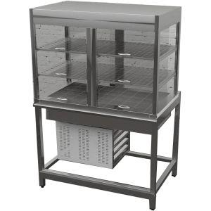Витрина холодильная для самообслуживания, L1.10м, 2 полки перфорированные, закрытая, напольная, 0/+8С, стат.охл., нерж.сталь, подсветка, б/отделки