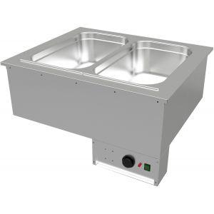 Мармит электрический встраиваемый, L0.76м, 2GN1/1, паровой нагрев, б/полки, нерж.сталь
