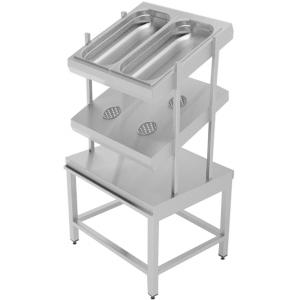 Прилавок для столовых приборов, хлеба и подносов, L0.78м, 2GN1/1, 4 стакана, нерж.сталь