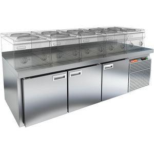 Стол холодильный низкий, GN1/1, L1.84м, борт H50мм, 3 двери глухие, ножки, -2/+10С, нерж.сталь, дин.охл., агрегат справа, H610мм