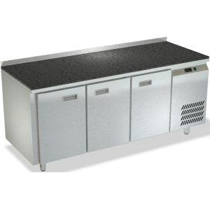 Стол холодильный, GN1/1, L1.84м, борт Н50мм, 3 двери глухие, ножки, +2/+10С, нерж.сталь, дин.охл., агрегат справа, столешница гранит