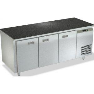 Стол холодильный, GN1/1, L1.84м, без борта, 3 двери глухие, ножки, +2/+10С, нерж.сталь, дин.охл., агрегат справа, гранит.пов.