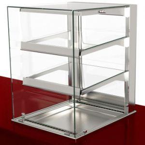 Витрина тепловая встраиваемая, вертикальная, L0.80м, 2 полки стекло, +30/+80С, нерж.сталь, LED подсветка, прямое стекло