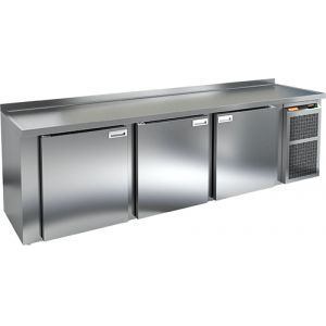 Cтол холодильный для кег и розлива пива, L2.84м, борт H50мм, 3 двери глухие, ножки, 965л, +2/+10С, нерж.сталь, дин.охл., агрегат правый, 5 кег