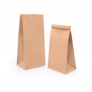 Пакет бумажный 250х120х80мм прямоугольное дно крафт 70г