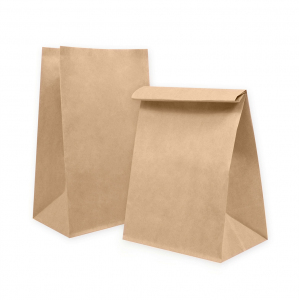 Пакет бумажный 290х220х120мм прямоугольное дно крафт 70г