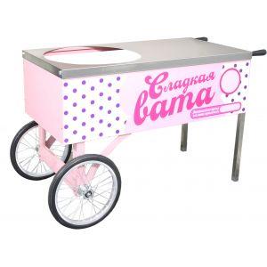 Тележка для аппарата сахарной ваты, столешница, 2 колеса, розовая