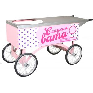 Тележка для аппарата сахарной ваты, столешница, 4 колеса, розовая