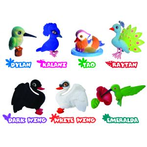 Игрушки-животные ПТИЧКИ - ЯРКИЕ ПЕРЫШКИ пластик с текстильным напылением