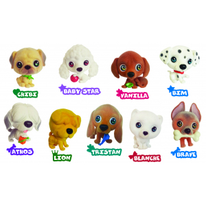Игрушки-животные ЩЕНЯТА - ЗАБАВНЫЕ ХВОСТИКИ пластик с текстильным напылением