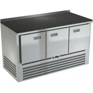 Стол холодильный, GN1/1, L1.49м, борт H50мм, 3 двери глухие, ножки, -2/+10С, нерж.сталь, дин.охл., агрегат нижний, столешница гранит.