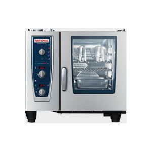 Пароконвектомат газовый бойлерный,  6GN1/1, электромех.управление, щуп, душ, автоматическая мойка, природный газ H