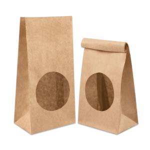 Пакет бумажный двухслойный 250х120х80мм с окном прямоугольное дно крафт