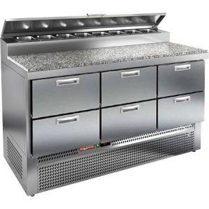 Стол холодильный для пиццы, GN1/1, L1.49м, 6 ящиков, ножки, +2/+10С, нерж.сталь, дин.охл., агрегат нижний, короб 8GN1/6, крышка, гранит.пов.