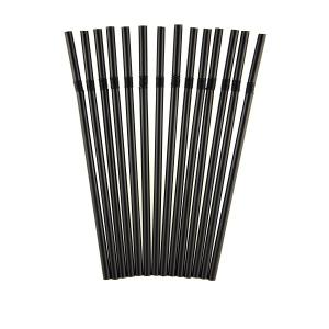 Трубочки для напитков с гофрой D 5мм L 210мм пластик черные