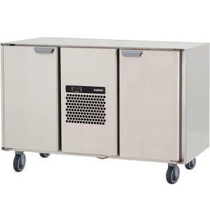 Стол морозильный, GN1/1, L1.26м, без столешницы, 2 двери глухие, ролики, -15/-25С, нерж.сталь, дин.охл., агрегат центр.