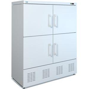 Шкаф комбинированный,  800л, 4 двери глухие, 8 полок, ножки, 0/+7С и -13С, стат.охл., белый, агрегат нижний