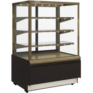 Витрина холодильная напольная, горизонтальная, L0.90м, 3 полки, 0/+7С, дин.охл., коричневая+золото, стекло фронтальное прямое, подсветка, стеклопак