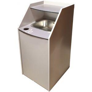 Модуль для сбора жидкости, объём бака 20л, объём ведра 60л, напольный, мойка, отверстие для банок, полка верхняя, серый