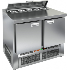 Стол холодильный саладетта, GN2/3, L1.00м, борт H50мм, 2 двери глухие, ножки, +2/+10С, нерж.сталь, дин.охл., агрегат нижний, гнездо 5GN1/6, крышка