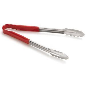 Щипцы универсальные L 40,5см ЛИСТ с красной виниловой ручкой, нерж. сталь