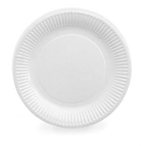 Тарелка 170мм круглая рифлёная ламинированная бумага белая