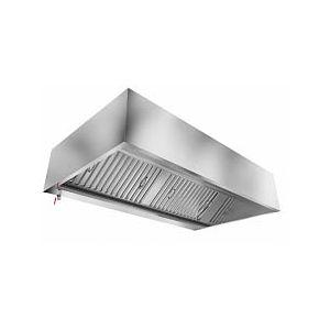 Зонт вытяжной пристенный, 1500х1100х400мм, лаб.фильтры, коробчатый, нерж.сталь, подсветка, без отверстия
