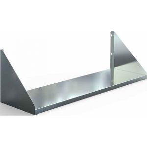 Полка настенная, 1000х300х220мм, 1 уровень сплошной, открытая, нерж.сталь 430, разборная, косынка вверх