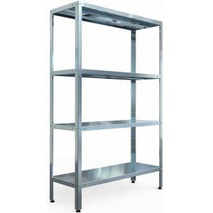 Стеллаж кухонный,  600х400х1800мм, 4 полки сплошные нерж.сталь 430, стойки уголок оцинк.сталь, разборный