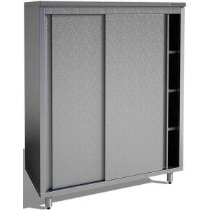 Шкаф кухонный, 1000х500х1800мм, 2 двери-купе, 3 полки сплошные, нерж.сталь 430, сварной