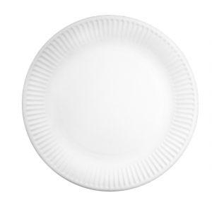 Тарелка 230мм круглая рифленая мелованная бумага белая