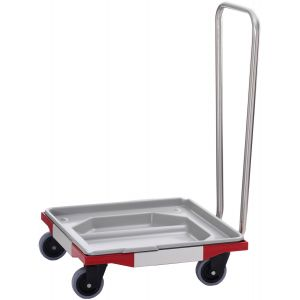Тележка для корзин посудомоечных 500х500мм (размер L), ручка, ванна пластиковая, 4 колеса, нерж.сталь