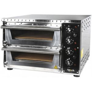 Печь для пиццы электрическая, подовая, 2 камеры  350х410х75мм, 2 пиццы D340мм, электромех.управление, двери стекло, под камень, боковины нерж.сталь