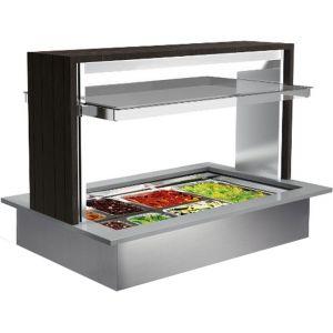 Ванна холодильная встраиваемая, L1.14м, 3GN1/1, витрина Doge Isola, +2/+7С, стат.охл., нерж.сталь, агрегат, венге