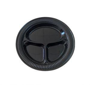 Тарелка 260мм столовая 3-секционная пластик черный