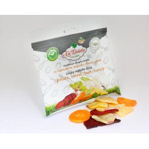 Хрустящие овощные дольки, микс: картофель, морковь, свекла, репа, 30 г., пакет