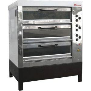 Печь для хлеба электрическая подовая, 3 камеры  965х760х250мм, электромех.упр., двери стекло, паровулажнение, облицовка нерж.сталь, стенд открытый