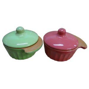 Кокотница d 12см, керамика, салатовый
