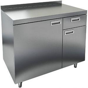 Модуль барный нейтральный для кофемашин, 1000х600х850мм, борт, 2 двери, 1 ящик, ножки, нерж.сталь
