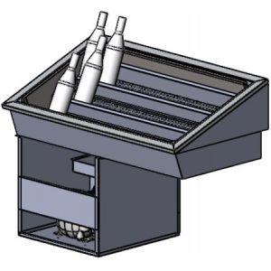Витрина холодильная встраиваемая, горизонтальная, для напитков в ледяной шубе, L1.07м, 3 уровня, -1/+10С, нерж. сталь