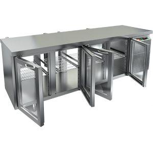 Стол холодильный сквозной, GN1/1, L2.28м, без борта, 8 дверей стекло, ножки, +2/+10С, нерж.сталь, дин.охл., агрегат справа